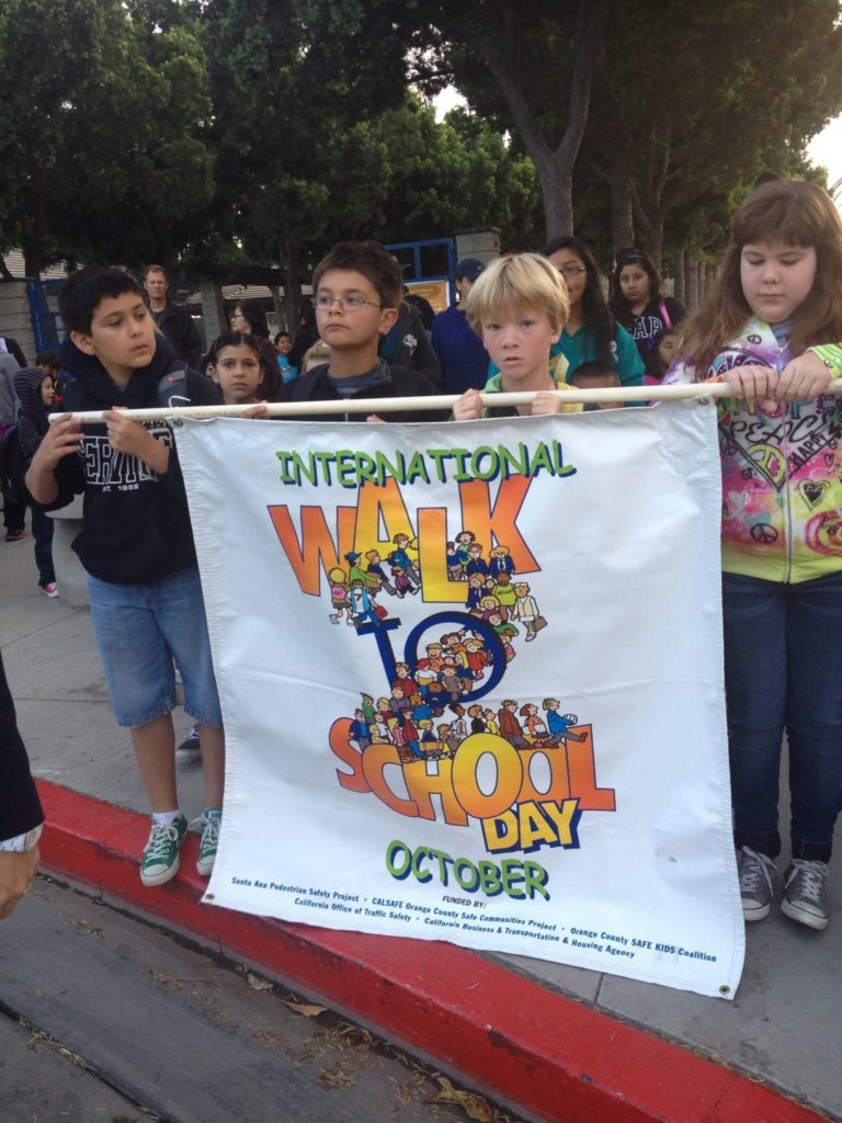 Participating in Walk to School day in the city of Orange, CA