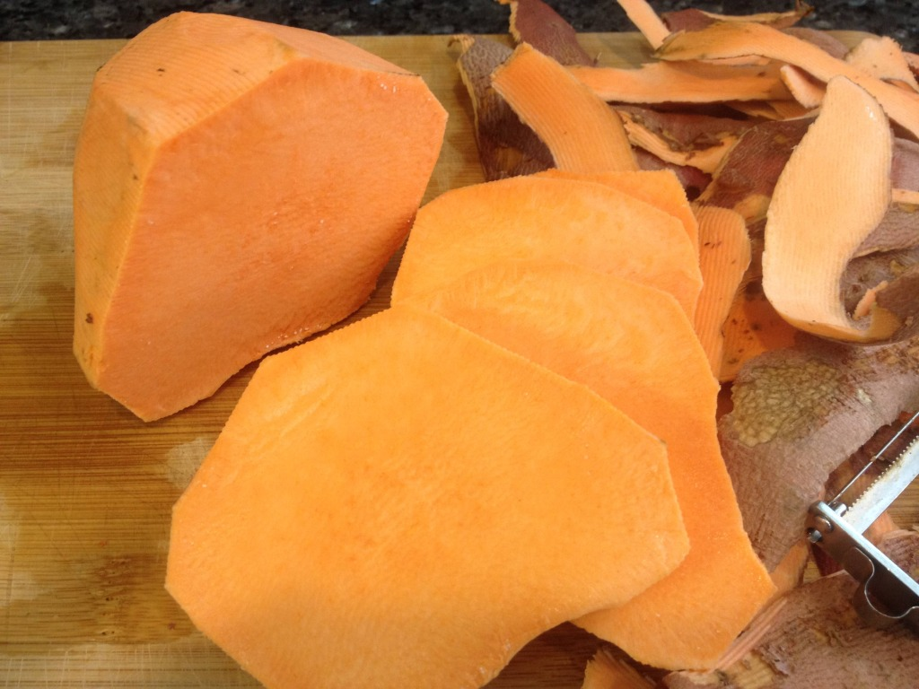 Sweet potatos, peeled and sliced, family for health,