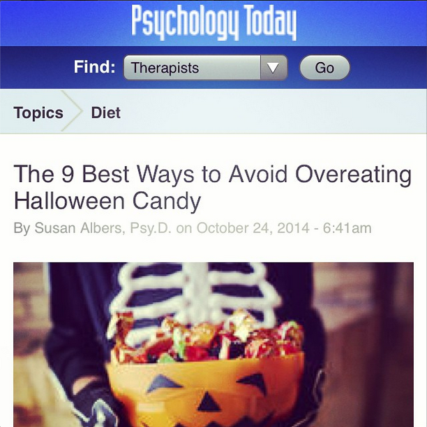 "We shared for YOU in Psychology Today: ""The 9 Best Ways to Avoid Overeating Halloween Candy"""