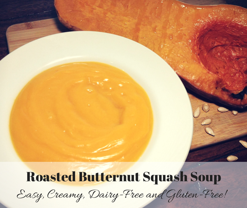 Easy, Creamy Roasted Butternut Squash Soup (Dairy Free & Gluten Free)