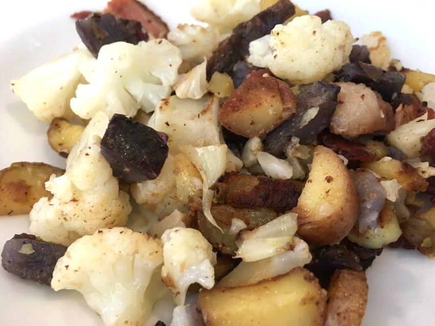 How to cook with Your Leftover Raw Veggies: Potato, Bacon and Cauliflower Recipe